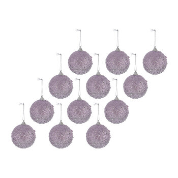 Bead Encrusted Bauble - Set of 12 - Lilac