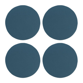 Double Sided Vegan Leather Coasters - Set of 4 - Blue