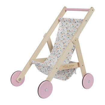 Wooden Doll Pushchair - Spring Flowers
