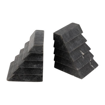 Stacked Marble Bookends - Black