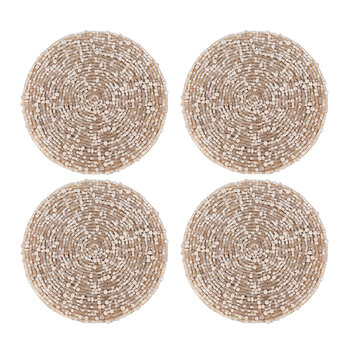Beaded Coaster - Set of 4 - Taupe