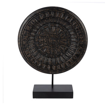 Black Carved Wood Disc Object