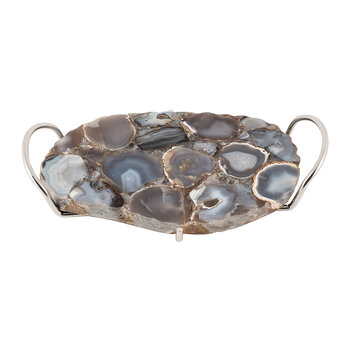 Dark Agate Tray with Handles