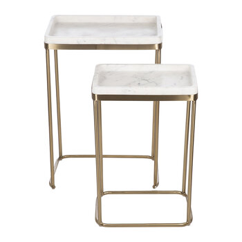 Marble Top Nested Side Tables - Set of 2