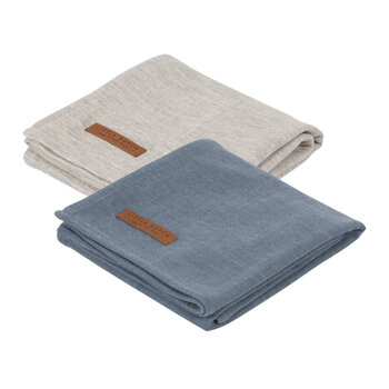 Baby Swaddle - 70x70cm - Pure Blue/Grey
