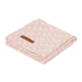 Baby Swaddle - 120x120cm - Lily Leaves Pink