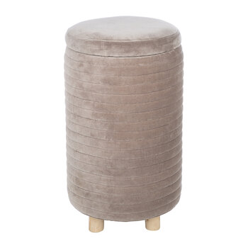 Velour Quilted Pouf - Light Grey