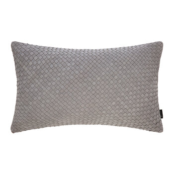 Leather Weave Cushion - 30x50cm - Light Grey