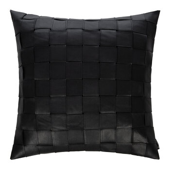 Square Weave Leather Cushion - 50x50cm - Black