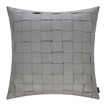 Square Weave Leather Cushion - 50x50cm - Light Grey