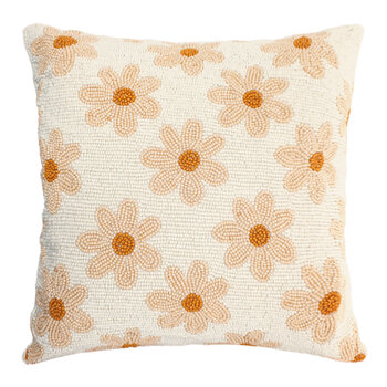 Daisies Beaded Cushion - Crème