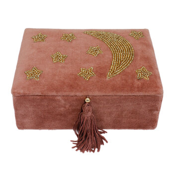Small Rectangular Velvet Box - Pink with Moon