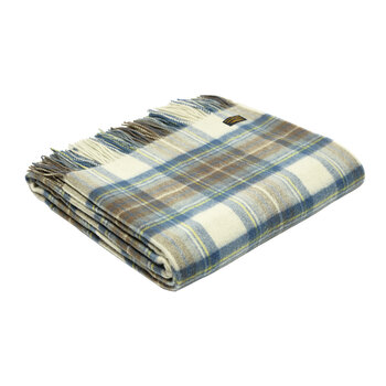 Lambswool Muted Blue Dress Stewart Tartan Throw