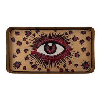 Limited Edition Hand Painted Tray - Red & Gold