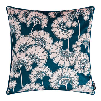 Japanese Floral Velvet Pillow - Forest Green
