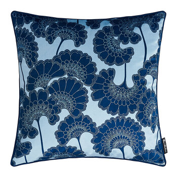 Japanese Floral Velvet Pillow - Baby Blue