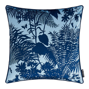 Shadow Floral Velvet Pillow - 50x50xm - Baby Blue