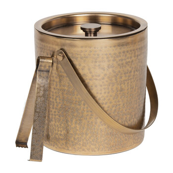 Amherst Ice Bucket & Tongs - Antique Brass