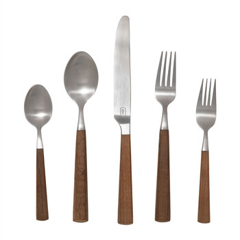 Micah Cutlery Set - 5 Piece - Maple/Silver