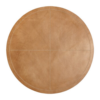 Evan Round Leather Placemat - Tan