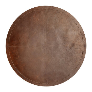 Evan Round Leather Placemat - Brown