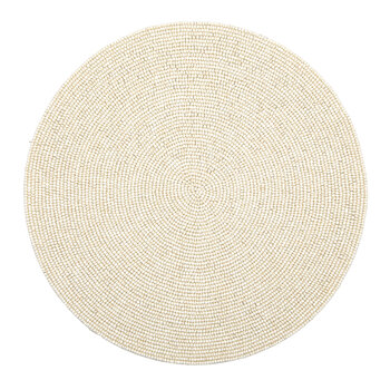 Terza Cream Round Placemat - Glass Beads