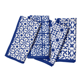 Ojai Cotton Napkins - Set of 4 - Blue Patterned