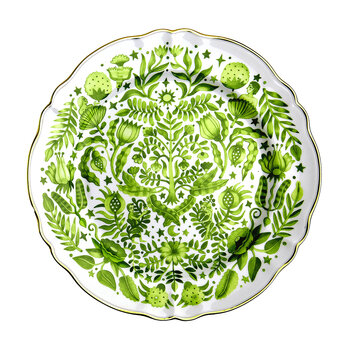 Round Serving Plate - Green Patterned