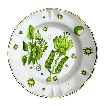 Fruit Plate - Green Patterned