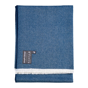 Alpaca Throw Herringbone - Blue With Fringe