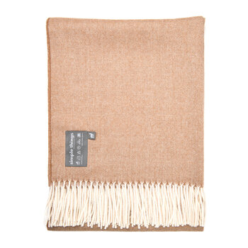 Alpaca Throw Herringbone - Camel