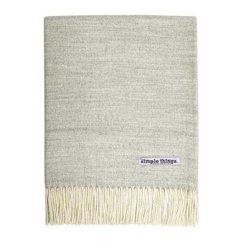 Alpaca Throw Herringbone - Pale