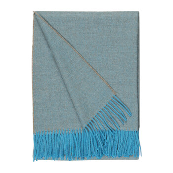 Alpaca Throw Herringbone - Azure & Grey