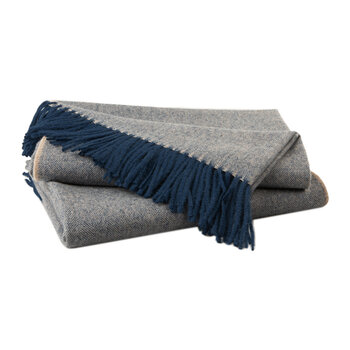 Alpaca Throw Herringbone - Navy & Cream