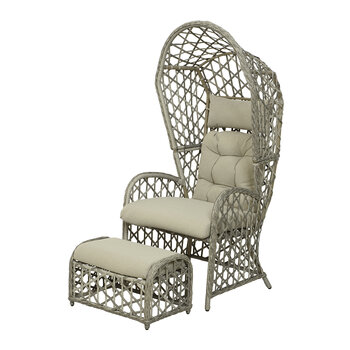 Outdoor Wicker Lounge Chair Set - Grey