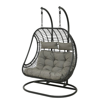 Outdoor Two Seater Wicker Hanging Chair - Black