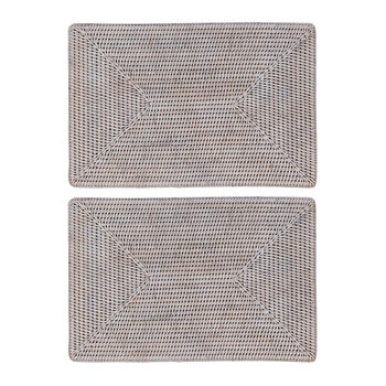 Rattan Placemat - Set of 2 - White Wash