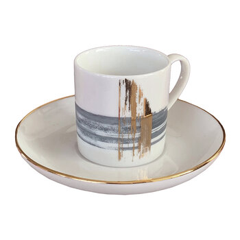 Artisan Brush Coffee Cup With Saucer - Set Of 2