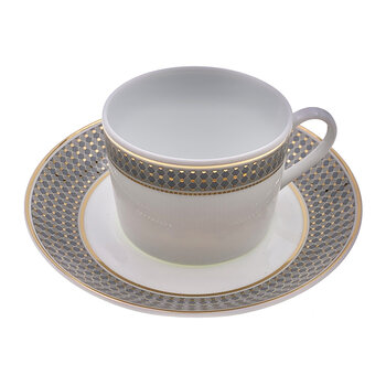 Modern Vintage Western Teacup With Saucer - Set Of 2 - Blue/Gold
