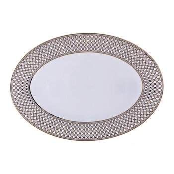 Modern Vintage Oval Serving Plate - Beige/Gold
