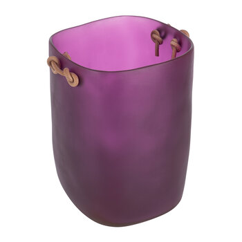 Exclusive Water Bath Waste Bin with Leather Handles - Purple