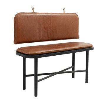 Gila Bench - Wood With Brown Leather Cushion
