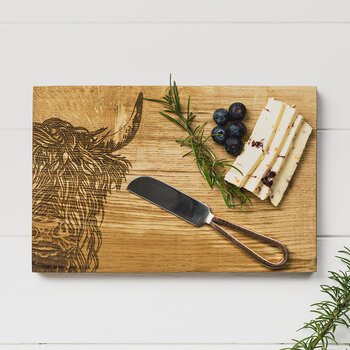 Oak Highland Cow Cheese Board & Knife Set