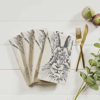 Hare Linen Napkins - Set of 4