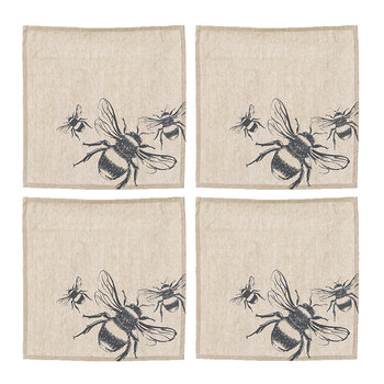 Bee Linen Napkins - Set of 4