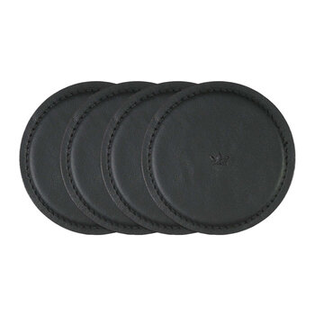 Leather Coasters - Set Of 4 - Black