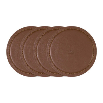 Leather Coasters - Set Of 4 - Classic Brown