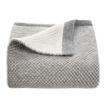 Inti Knitted Baby Blanket - Soft Grey/Cream