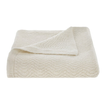 Wave Knitted Baby Blanket - Cream