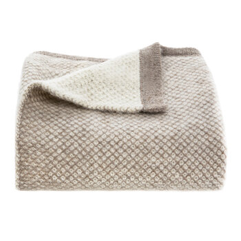 Qori Knitted Reversible Throw - Taupe/Cream